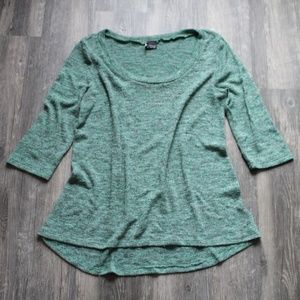 Sparkle & Fade Green Knit Half Sleeve Sweater